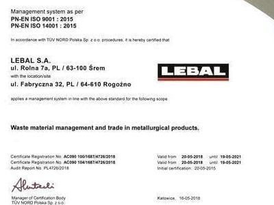 Certificate PN EN ISO 9001 2015 PN EN ISO 14001 2015