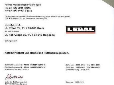 Zertifikat PN EN ISO 9001 2015 PN EN ISO 14001 2015